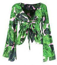 Rebecca Kimono allacciato con maniche ampie e stampa di palme