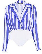 Alicia Stripe Collared Wrap Bodysuit