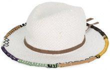 Le Chapeau - Cappello con bordi ricamati - women - Cotton/Paper/Acetate - 57 - WHITE