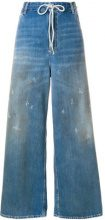 Mm6 Maison Margiela - distressed oversized trousers - women - Cotone/Polyester - 40, 42, 44, 38, 36 - BLUE