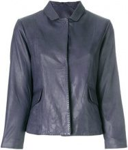 S.W.O.R.D 6.6.44 - cropped leather jacket - women - Leather/Cotton/Polyester - 40, 42, 46 - BLUE