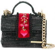 Kooreloo - embroidered detail tote - women - Leather/Velvet - OS - BLACK