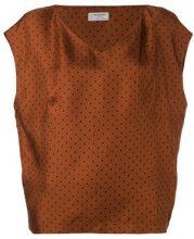 - Alberto Biani - Blusa con scollo a V - women - seta - 42 - color marrone