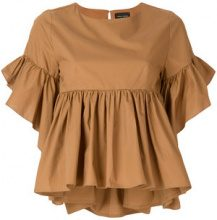 Roberto Collina - Blusa con design increspato - women - Cotton - XS, S - BROWN