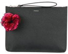 Pinko - Clutch con fiore di paillettes - women - Leather - OS - BLACK