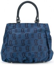 John Galliano - monogram tote - women - Cotton/Linen/Flax/Leather/Polyester - OS - BLUE