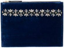 Marni - embellished clutch - women - Leather/Velvet/plastic/metal - OS - BLUE