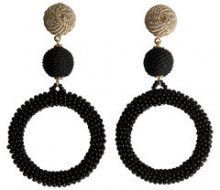 PIECES Long Pearl Earrings Women Black