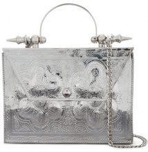 Okhtein - Palmette beaten floral pattern clutch - women - Silver/Brass - OS - METALLIC