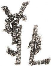Saint Laurent - Orecchini con logo - women - Brass - One Size - Metallizzato