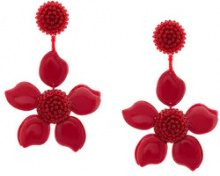 Oscar de la Renta - Orecchini a forma di fiore - women - plastic/glass/metal/Silk - One Size - RED