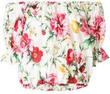 Dolce & Gabbana - Top con stampa a fiori - women - Cotton - 40 - WHITE