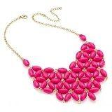 Shiny, donna, colore: oro, floreale, con perle, colore: fucsia a girocollo a catena.