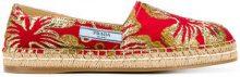 Prada - Espadrillas con fiori ricamati - women - Silk/Raffia/Leather/rubber - 37.5, 38, 39 - RED