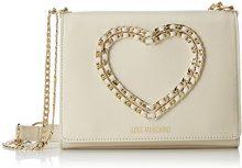 Love Moschino Borsa Vitello Bottalato Avorio - Borse a spalla Donna, Bianco (Ivory), 6x17x22 cm (B x H T)