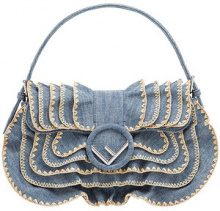 Fendi - Baguette di denim - women - Cotton/Resin/Calf Leather/Polyester - One Size - BLUE