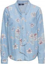 Camicia di jeans fantasia con fiocco (Blu) - BODYFLIRT