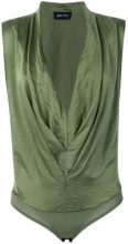 - Andrea Ya'aqov - Body con scollo a cappuccio - women - seta/cotone - XS - di colore verde