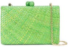 Serpui - woven clutch - women - Raffia/Polyester - OS - GREEN