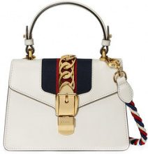 Gucci - White Sylvie Small Leather shoulder bag - women - Leather/Suede/Nylon/metal - One Size - WHITE