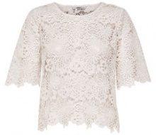 ONLY Crochet Short Sleeved Top Women White