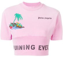 Palm Angels - palm island-print cropped T-shirt - women - Cotton/Spandex/Elastane - M, L, S - PINK & PURPLE