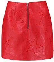 Aria Woven PU Star Embroidered Mini Skirt