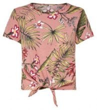 ONLY Knot Detail Short Sleeved Top Women Pink