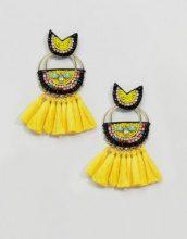 Glamorous - Orecchini con nappe di perline gialle - Giallo