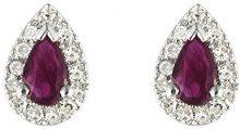 Ivy Gems - Orecchini a perno in oro bianco 9 k con rubino e diamante, forma a goccia