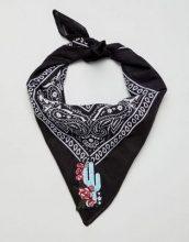 ASOS DESIGN - Fascia per capelli/foulard con stampa cachemire stile bandana con cactus e rose ricamati - Nero
