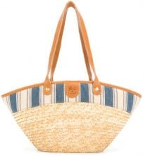 Il Bisonte - Borsa con inserto a strisce - women - Leather/Straw - OS - NUDE & NEUTRALS