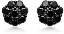 Jewelili Donna  925  Argento Ronde   nero Diamante FASHIONEARRING