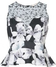 Nicole Miller - sleeveless floral blouse - women - Cotton/Spandex/Elastane - XS, S, M - BLACK