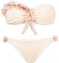 La Reveche - floral embellished strapless bikini - women - Polyamide/Spandex/Elastane - M - NUDE & NEUTRALS