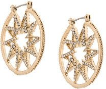 Marchesa Notte - star hoop earrings - women - Crystal/Gold Plated Brass - OS - YELLOW & ORANGE