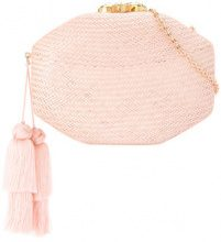 Rafe - woven clutch bag - women - Snake Skin/Straw - OS - PINK & PURPLE