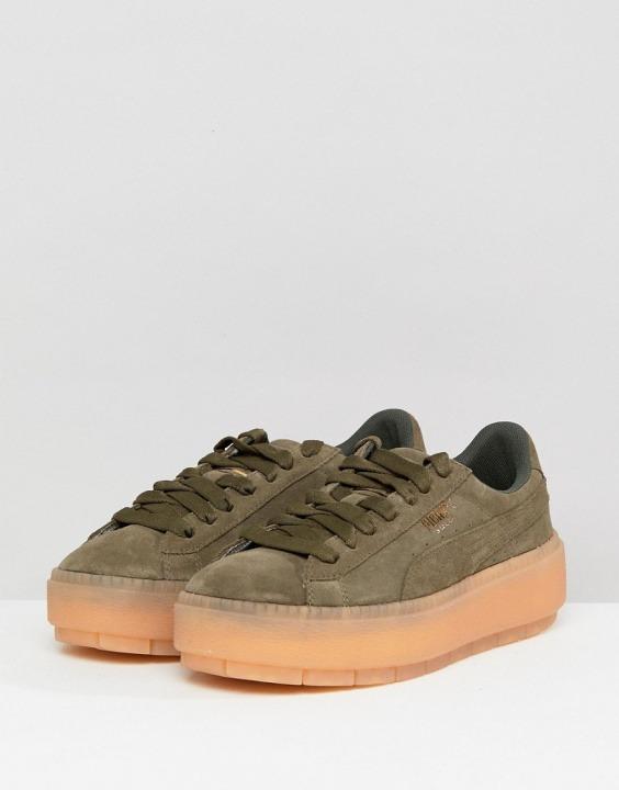 4f7ef9c4828e6 Plateau Sneakers Con Trace Puma Bantoa Kaki Verde fwIxw0qO5