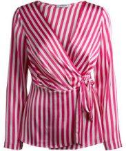 PIECES Striped Satin Blouse Women Pink