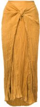 Vince - pleated knot skirt - women - Polyester - M - YELLOW & ORANGE