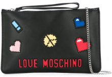 Love Moschino - pixel emoji clutch - women - Polyurethane - One Size - BLACK