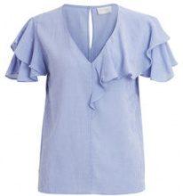 VILA Ruffle Short Sleeved Blouse Women Blue