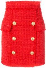 Balmain - button-embellished tweed skirt - women - Cotone/Acrylic/Polyamide/Viscose - 38, 36, 40 - RED