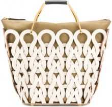 Marni - woven tote bag - women - Calf Leather/Brass - One Size - WHITE
