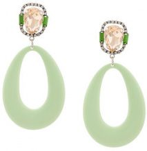 Dannijo - Elvis earrings - women - Acrylic/ottone placcato argento/Crystal - OS - GREEN