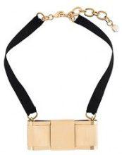 Dolce & Gabbana - bow necklace - women - Cotton/Acetate/Crystal/Brass - OS - BLACK