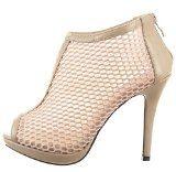 Sopily - Scarpe da Moda scarpe decollete Stivaletti - Scarponcini Stiletto Low boots alla caviglia donna fishnet Tacco Stiletto tacco alto 11 CM - Beige