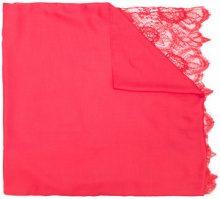 Valentino - Sciarpa con rifinitura in pizzo - women - Cotton/Polyamide/Modal/Cashmere - OS - RED