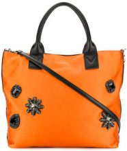 Pinko - Borsa tote decorata - women - Cotton/Polyester - OS - YELLOW & ORANGE