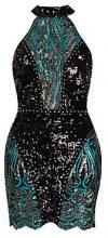 Premium Petite Kady Halter Neck Sequin Mini Dress